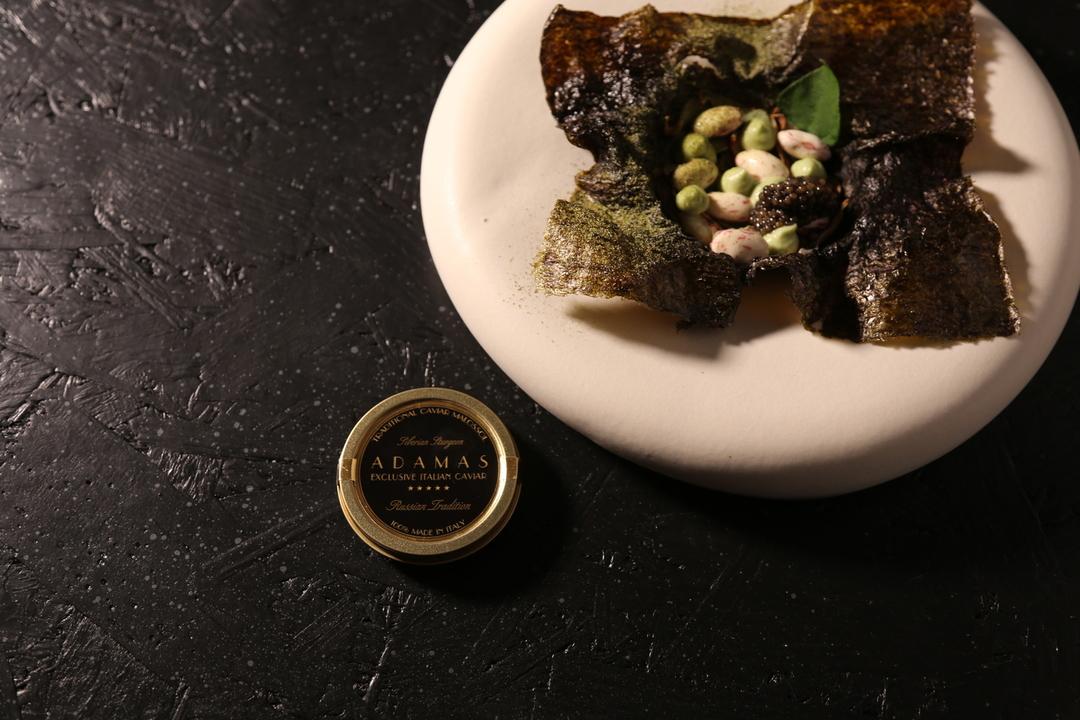 Baked nori seaweed tartlet and Black Adamas